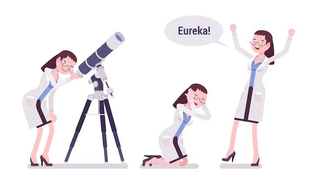 Une scientifique scientifique satisfaite du résultat d'eureka