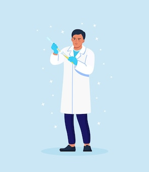 Scientifique tenant un tube à essai. des chimistes découvrent des remèdes antiviraux dans les laboratoires chimiques et médicaux. médecins étudiant des échantillons. recherche en laboratoire de chimie