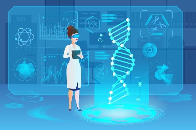 Scientifique travaillant avec l'adn sur la recherche en laboratoire