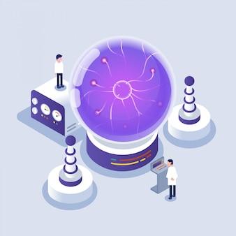 Scientifique travaillant dans des icônes de laboratoire / isométrique