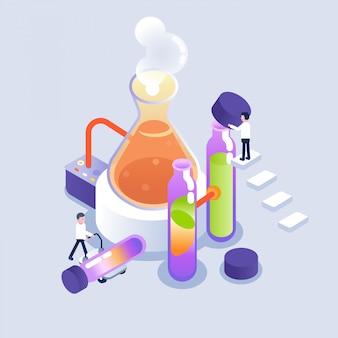 Scientifique travaillant en laboratoire dans un style isométrique