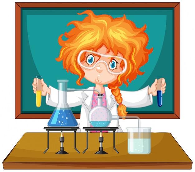 Scientifique travaillant avec des outils scientifiques en laboratoire