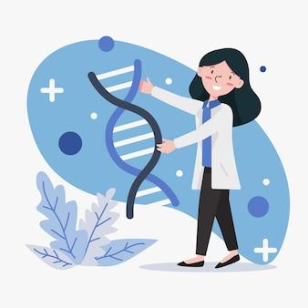 Scientifiques détenant des molécules d'adn