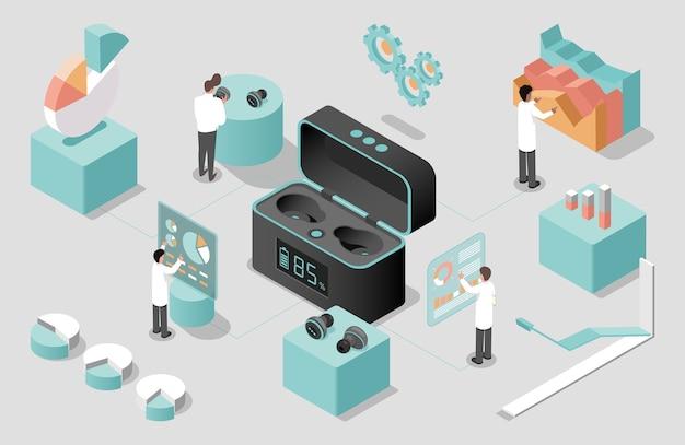 Des scientifiques développant des écouteurs sans fil