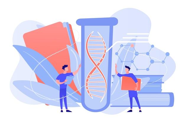 Scientifiques avec dossier et presse-papiers travaillant avec un énorme adn dans un tube à essai. tests génétiques, tests adn, concept de diagnostic génétique sur fond blanc. illustration isolée de bleu corail rose