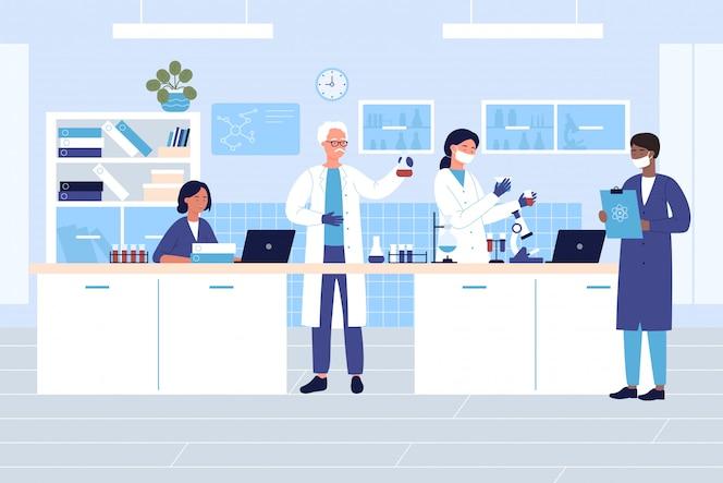 Les scientifiques du groupe dans le concept d'illustration plate de caractère de laboratoire médical ou chimique