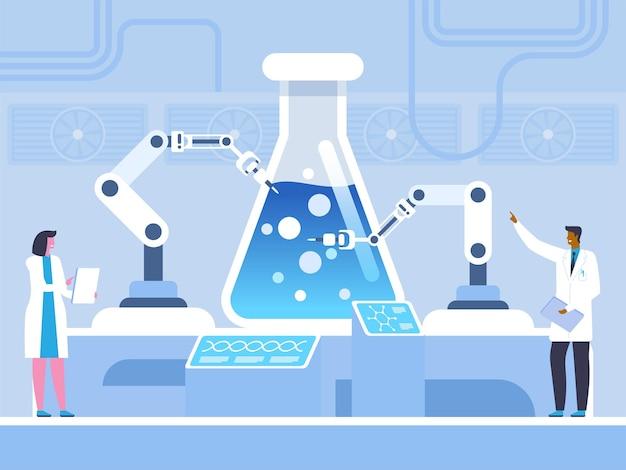 Scientifiques étudiant la réaction chimique, le génie génétique. test scientifique de science futuriste