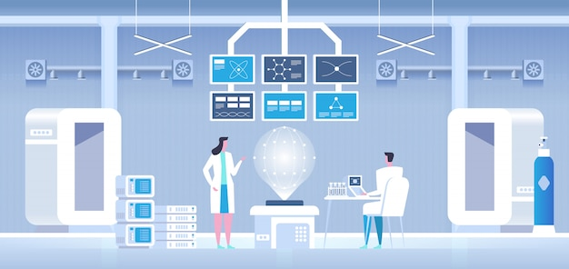Scientifiques homme et femme effectuant des recherches dans un laboratoire