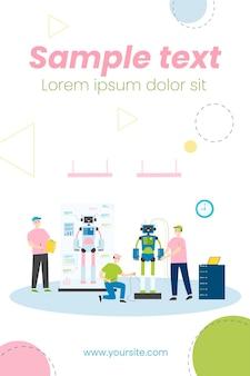 Scientifiques et ingénieurs créant et construisant des robots humanoïdes