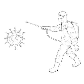 Les scientifiques médicaux en matières dangereuses conviennent au nettoyage et à la désinfection des cellules virales
