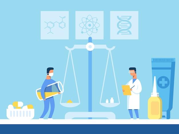Les scientifiques pèsent un composant pour de nouvelles pilules sur des balances