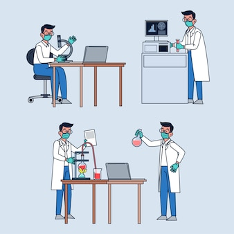 Scientifiques professionnels travaillant avec des équipements de laboratoire