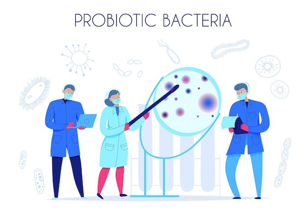 Scientifiques recherchant des bactéries probiotiques dans une illustration plate de laboratoire scientifique