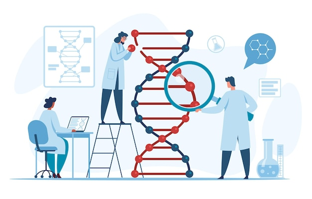 Scientifiques de recherche d'adn génétique recherchant et analysant la molécule d'hélice en laboratoire