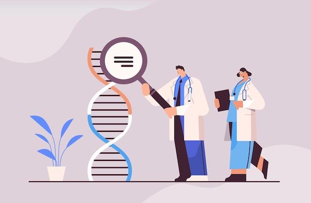 Scientifiques travaillant avec des chercheurs en adn faisant des expériences en laboratoire pour le diagnostic génétique des tests adn