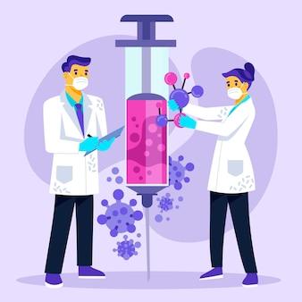 Scientifiques travaillant sur la création d'un vaccin covid-19