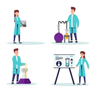 Scientifiques travaillant ensemble illustré