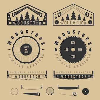Scieries étiquettes, emblèmes, logo