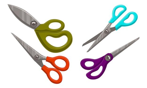 Scissor template vector set color