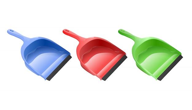 Scoop. collection isolée de pelles à poussière colorées.