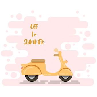 Scooter de moto en été