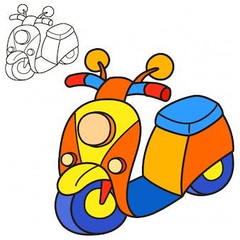 Scooter. page de livre de coloriage