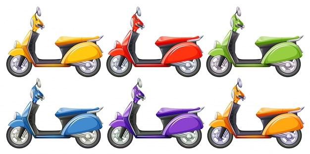 Scooters dans six illustrations de couleurs différentes
