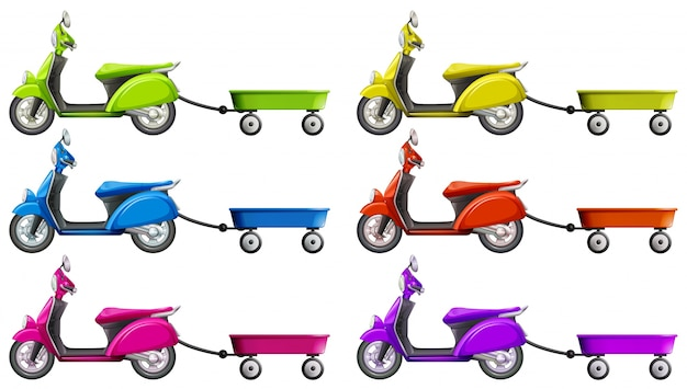 Scooters et wagon dans une illustration de couleurs différentes