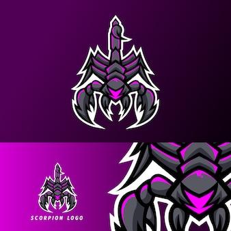 Scorpion griffe noire mascotte sport esport logo modèle