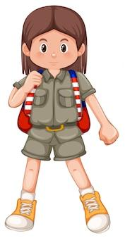 Un scout de fille brune