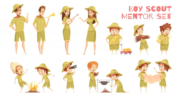 Scouts mentors cartoon icons set