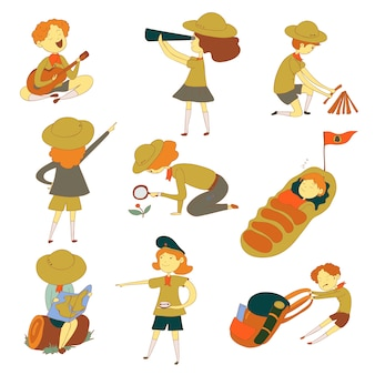 Scouts pour différentes activités. observation, sommeil, repos. illustration sur fond blanc.