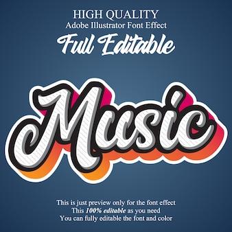 Script de musique moderne éditable effet de police de typographie
