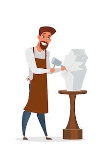 Sculpteur faisant illustration de statuette, homme en tablier tenant un personnage de marteau et de ciseau