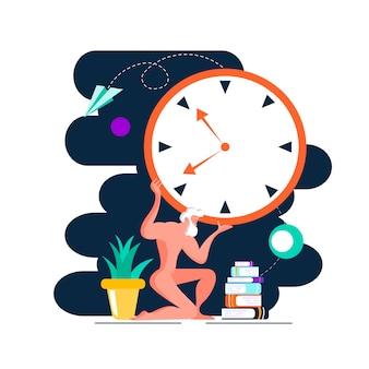 La sculpture d'atlante détient la montre vue de côté dessin animé plat de vecteur de couleur concept de gestion du temps