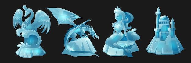Sculptures de glace de la reine des cygnes, personnages fantastiques et château médiéval
