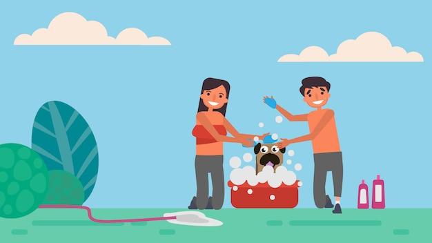 Se baigner pour les animaux de compagnie.les activités de passe-temps pour les amateurs de ménage passent ensemble l'été, les vacances, le temps avec leurs proches.
