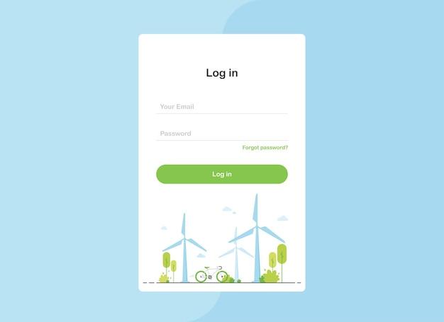 Se connecter au modèle de page de destination au design plat