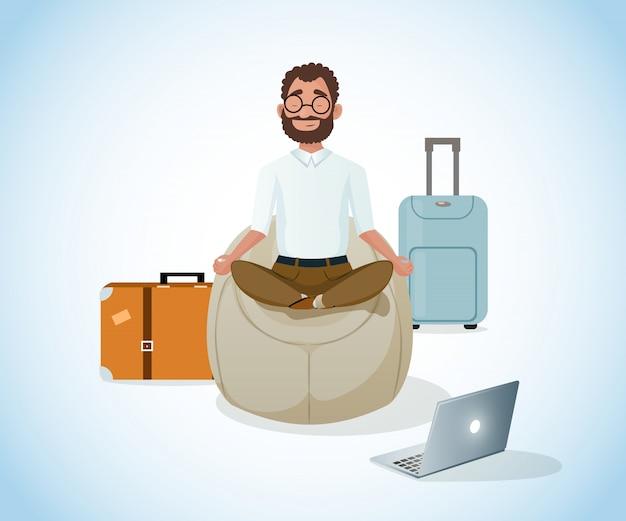 Se détendre et travailler dans le vecteur de dessin animé de voyage