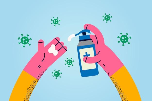 Se laver les mains avec le concept de désinfectant