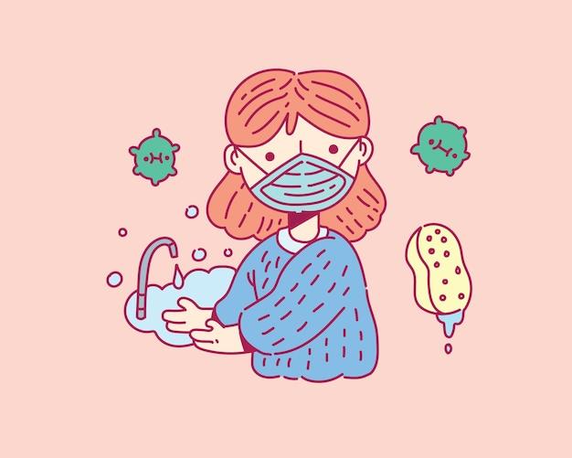 Se laver les mains avec une illustration de savon. style de doodle covid19