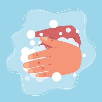 Se laver les mains avec de la mousse
