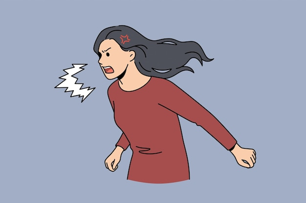 Se sentir en colère et concept agressif. jeune femme furieuse de rage en colère personnage de dessin animé debout criant crier sentiment d'agression illustration vectorielle