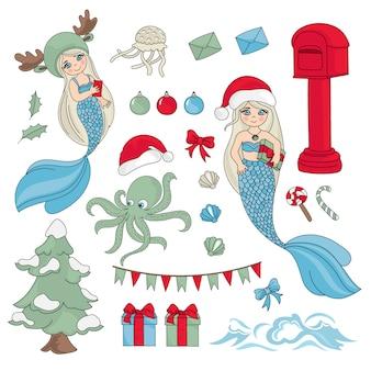 Sea christmas new year color illustration set