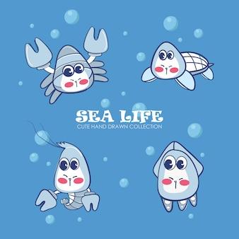 Sea life collection dessinée à la main mignonne.