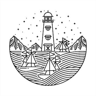 Sea ship wave line graphic illustration art t-shirt design