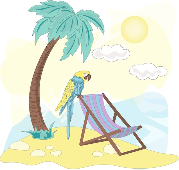 Sea travel clipart couleur vector illustration set beach parrot
