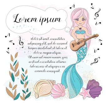 Sea underwater vector illustration set jeu de musique mermaid