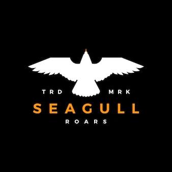 Seagull rugissement plat battant logo icône vector illustration