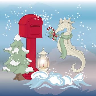 Seahorse mail set d'illustrations couleur nouvel an